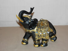 NEW AFRICAN ASIAN BLACK & GOLD LUCKY ELEPHANT DECORATIVE STATUE FIGURE TRUNK UP