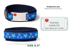 "TAKING XARELTO Sport Medical Alert ID Bracelet  6.5"".Free medical Emergency Card"