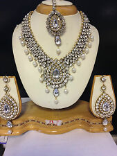 New Bollywood Indian Costume Jewellery Set Gold Tone White Stone Evening Wear-Y2