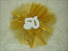 Bomboniera per nozze d'oro, tulle velo di fata color oro con gessetto nr. 50.