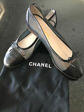 CHANEL BALLERINA FLATS BLACK LEATHER AND MESH SHOES SZ 38