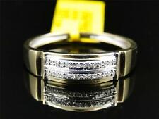 Mens 10K Yellow Gold Round Cut Diamond Wedding Engagement Band Ring .10 Ct