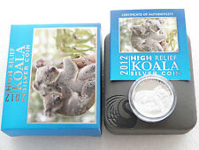 2012 Australia Koala High Relief $1 One Dollar Silver Proof 1oz Coin Box Coa