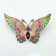 GORGEOUS 18K  GOLD PLATED GENUINE CZ & AUSTRIAN CRYSTAL GREEN  BUTTERFLY BROOCH