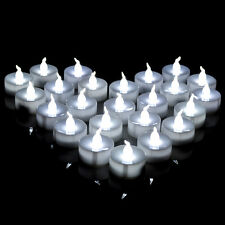 100 Cool White Flickering LED Tea Light Battery Candles Flameless WEDDING PARTY