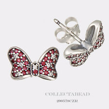 Authentic Pandora Silver Disney Minnie Bow Red CZ Stud Earrings 290578CZR