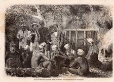 VISITE CHEF APRES DEUIL DE FAMILLE CALEDONIE CALEDONIA IMAGE 1867 OLD PRINT