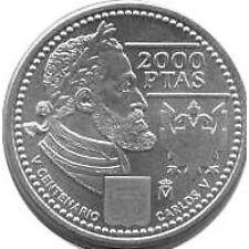 España Juan Carlos 2000 pesetas 2000 de plata  Carlos V