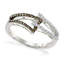 100% 10K White Gold Chocolate Brown & White Diamond Open Bypass Ring Band .25ct