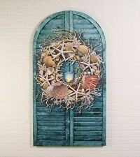 Shabby Beach Cottage Chic SEASHELL WREATH SHUTTER LIGHTED CANDLE Arched Picture