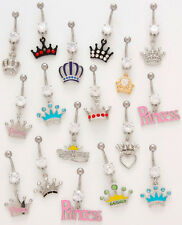 10pc Princess/Crown Dangle Belly Rings Navel Wholesale Lot (B42)