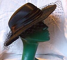 VINTAGE 'HAT BOX' SUPERIOR BLACK WIDE BRIM NETTED HAT SUITABLE ALL SEASONS CHIC