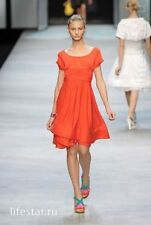 $1.650 CELINE 38 xs s red viscose asymmetrical DRESS coral tunic runway france