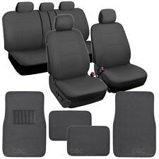 Charcoal Gray Car Seat Covers Set Complete w/ Front & Rear Carpet Floor Mats