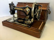 Antique Singer Hand Crank Sewing Machine W/Wooden Coffin Case Serial #16199814
