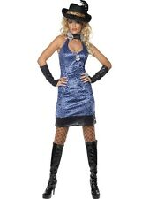 Sexy Pimp Lady Costume Blue Leopard Small, UK 8-10 70's Pimp  Ladies Fancy Dress