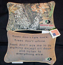 Mossy Oak Camouflage ~ Trees Don't Talk Tapestry Word Pillow