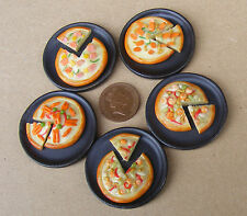 1:12 PIZZA singolo su un piatto di pietra in Miniatura Casa Delle Bambole Accessorio Cucina Cibo