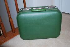 "Vintage 16"" x 13"" Green Hard Suitcase Luggage AMAZING Interior Mirror samsonite"