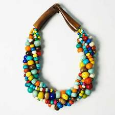 RAINBOW COLOR HANDCRAFTED MULTI-STRAND GENUINE BEAD HORN STATEMENT NECKLACE