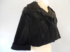 Nos Lip Service Blacklist Blue Velvet Cropped Bolero Jacket Top Goth Rockabilly