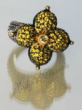 Barbara Bixby Pave' Yellow Sapphaire Lotus Ring Sterling Silver 18K Gold Size 5