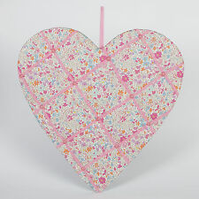 SECRET GARDEN PINK FLORAL HEART MEMO BOARD FABRIC RIBBON 43CM BY SASS & BELLE