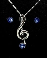 Treble Clef Pendant with Sapphire Crystal Stones Earrings - Music Themed Gift