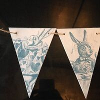 Alice In Wonderland Wooden Vintage Bunting Garland Party Shabby Chic