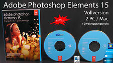 Adobe Photoshop Elements 15 Vollversion Win/Mac Box + DVD, Anleitung OVP NEU