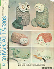 Uncut Owl. Pussycat, Puppy Dog & Rabbit Sewing Pattern with Transfer M5303