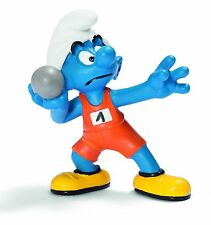 NEW WITH TAG - OLYMPIC SHOTPUTTER SMURF OLYMPICS by SCHLEICH THE SMURFS - 20742