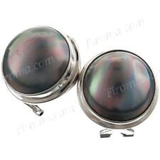 "3/4"" COOL 15MM BLUE MABE PEARL 925 STERLING SILVER OMEGA POST earrings"