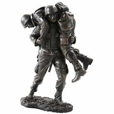 Brave Soldier Rescue in Combat Military Army Veteran Figurine Statue Loyalty