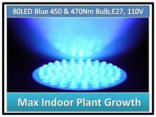 Mix Blue Medicinal Herb Plant Grow 80LED 450/470Nm Light Bulb 110V E27 USA Cert