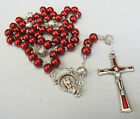 Handmade Red Glass Pearl Rosary with Silver Plated Our Father beads