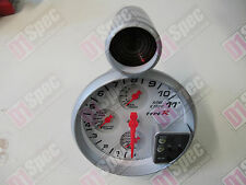TACHOMETER 4IN1 RPM SHIFTING LIGHT OIL PRESSURE WATER/OIL TEMP AUTO GAUGE WHITE