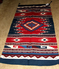 """Hand Woven Wool Throw Rug Southwestern Western 32""""x 64"""" Tapestry #406"""