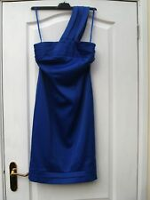SMART ROYAL BLUE TRIPLE ONE SHOULDER STRAPS STRETCHY WIGGLE BODYCON SHIFT DRESS
