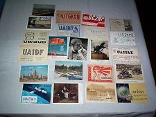 1960'S AMATEUR HAM RADIO CARDS RUSSIA USSR MOSCOW MOTORCYCLE  SPACE YURI GAGARIN
