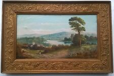Signed Antique Vintage Canvas Original Oil Painting English School Landscape