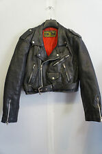 VINTAGE WOMAN'S LONDON BLE COWHIDE LEATHER CROPPED MOTORCYCLE JACKET SIZE S