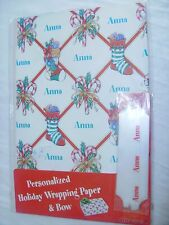 "PERSONALIZED ""Anna"" HOLIDAY WRAPPING PAPER +BOW! Christmas Gift Wrap"