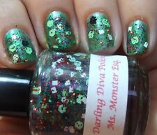 NEW! DARLING DIVA Indie nail polish lacquer in MS. MONSTER ESQ. - Green Glitter