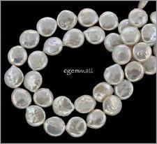 """15.5"""" White Freshwater Biwa Coin Pearl 12mm #66189"""