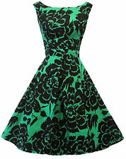 New Vintage Nostalgia 1940's WW 2 style Black Green Floral Tea  Dress UK 10