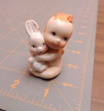 """VINTAGE PORCELAIN BISQUE 2"""" KEWPIE DOLL FIGURINE BABY WITH BUNNY"""
