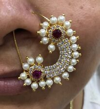Large Traditional Nose Ring Pin Nath Jewel Stud Indian Bollywood Rhinestone