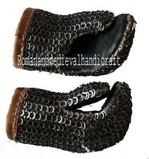 MEDIEVAL ARMOUR CHAINMAIL GLOVES 9MM FLAT RIVETED WITH WASHER