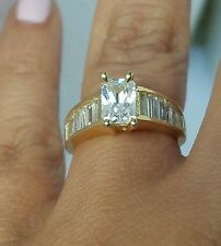 14k yellow gold 1.5 C man made diamond Emerald cut Baguettes Engagement Ring S 6
